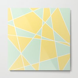 Mustard Mint Pattern | Geometric Shapes and Lines Metal Print