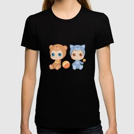 Babies in Cat and Bear Jumpsuits T-shirt