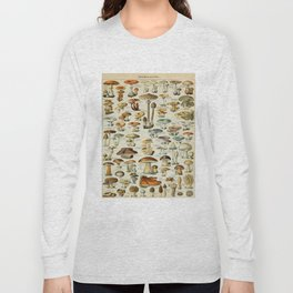 Mushrooms Vintage Scientific Illustration French Language Encyclopedia Lithographs Educational Long Sleeve T-shirt