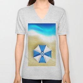 Couple of umbrellas on the beach, graphic art Unisex V-Neck