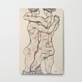 Egon Schiele - Naked Girls Embracing Metal Print