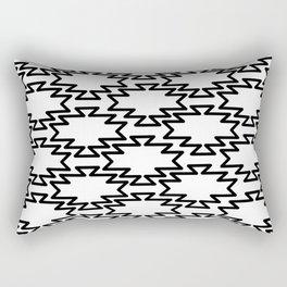 Southwest Azteca - Minimalist Monochrome Geometric Pattern in Black and White Rectangular Pillow