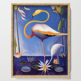 Flamingo and Egret with Lilies and Calla Lilies by Joseph Stella Serving Tray