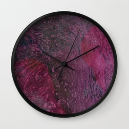 Deep Pink And Purple River Foam + Watercolor Splashes Wall Clock