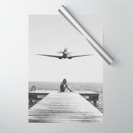 Steady As She Goes; aircraft coming in for an island landing black and white photography- photographs Wrapping Paper