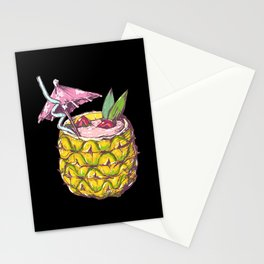 Pineapple cocktail with small umbrella drink straw Stationery Cards