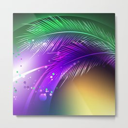 Purple Background with Feathers Metal Print