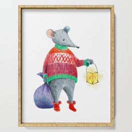 Little mouse with a lantern and a bag of gifts. Colour pencils. Serving Tray