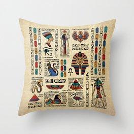 Egyptian hieroglyphs and deities on papyrus Throw Pillow