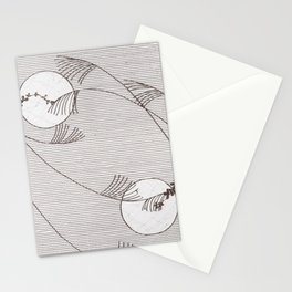 Two Moons Stencil,19th century Japan Stationery Cards