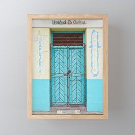 Havana Cuba Old Iron Door Colorful Latin America Caribbean Island Travel Art Print Turquoise Framed Mini Art Print