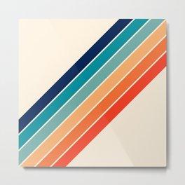 Karanda - 70s Style Classic Retro Stripes Metal Print