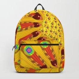 Gazania Flower Tribal Peacock Abstract Backpack