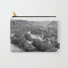 River Bluff Views In Minnesota-Black and White Carry-All Pouch