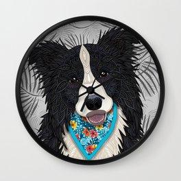 Happy Border Collie Boy Wall Clock
