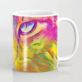 Neon Rainbow Cat Coffee Mug