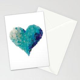 Love - Aqua Sea Glass Heart Stationery Cards