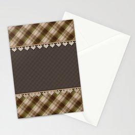 Brown plaid, plaid blanket, brown pattern, patchwork, folklore, rustic style, elegant pattern, plaid Stationery Cards