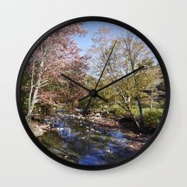 Autumn along the Robbins Branch creek a tributary of the White River near Ripton Vermont Wall Clock
