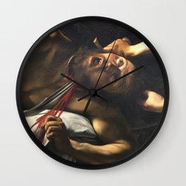 Judith beheading Holofernes, Caravaggio, baroque painting, italian painter Wall Clock