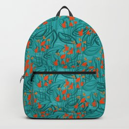 Pattern with red water flowers on turquoise green background Backpack
