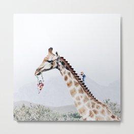 Giraffe Playground Metal Print
