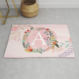 Flower Wreath with Personalized Monogram Initial Letter A on Pink Watercolor Paper Texture Artwork Rug