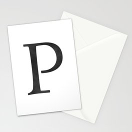 Letter P Initial Monogram Black and White Stationery Cards