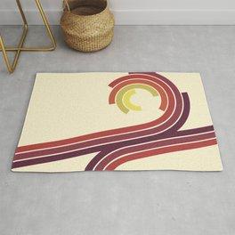 Retro Motion 1 – Orange / Yellow / Red / Purple Vintage Stripe Pattern Rug