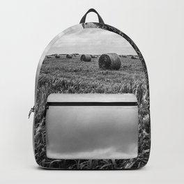 Nostalgia - Hay Bales in Kansas Field in Black and White Backpack