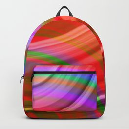 Fluttering curved semicircles with a crisp ruby accent and all the colors of the rainbow. Backpack