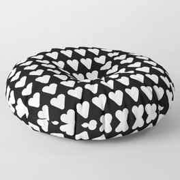 heart and love 18- Black and white Floor Pillow