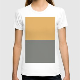 Dark Golden Yellow & Dark Pewter Gray Solid Color Horizontal Stripe Minimal Graphic Design Jolie Legacy & Marigold T-shirt