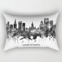 Hartford Connecticut Skyline BW Rectangular Pillow