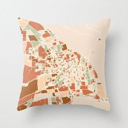 SHANGHAI CHINA CITY MAP EARTH TONES Throw Pillow