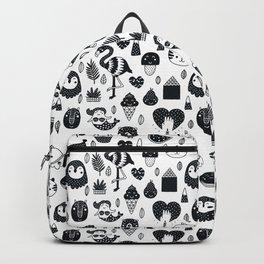 black and white Scandinavian Nursery Prints patterns Backpack