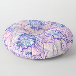 Colorful Floral Sketch Abstract Floor Pillow