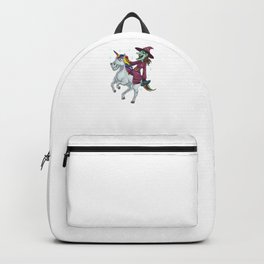 Witch Riding Unicorn, It's Show Time Funny Halloween Horror Scary Backpack