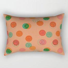 Smiley Face Stamp Print in Orange Rectangular Pillow