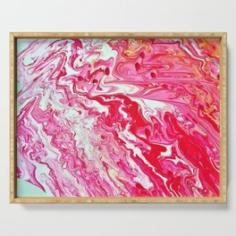 red acrylic pour Serving Tray