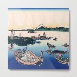 Hokusai -36 views of the Fuji  12 Tsukuda Island in the Musashi province Metal Print