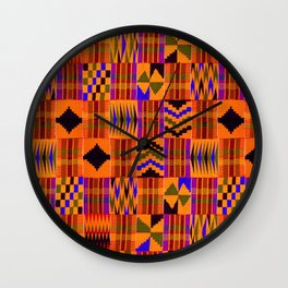 Kente Cloth // Persimmon & Red-Orange Wall Clock