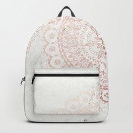Rose gold mandala and grey marble Backpack