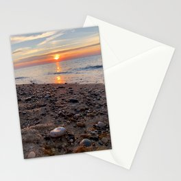 Gleaming beach stones on Herring Cove Beach in Ptown at Sunset Stationery Cards