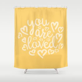 You Are Loved, Sunny Golden Yellow Typography Shower Curtain