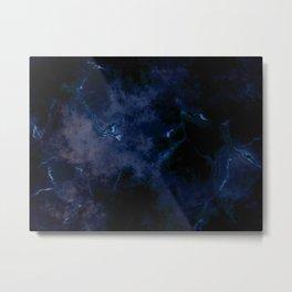 Dark blue cracked background Metal Print