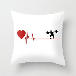 Man Weightlifting White with Red Heart Rate Throw Pillow