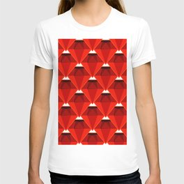 3D view of a red diamond seamless pattern T-shirt