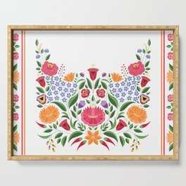 Hungarian folk pattern – Kalocsa embroidery flowers Serving Tray