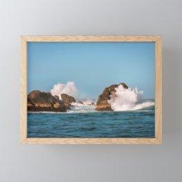 Big waves smashing on the rocks at Milford Sound Framed Mini Art Print